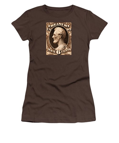 1875 Abraham Lincoln Treasury Department Stamp Women's T-Shirt (Junior Cut) by Historic Image