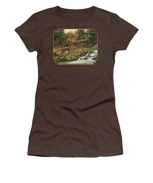 Whitetail Deer - Follow Me Women's T-Shirt (Junior Cut) by Crista Forest