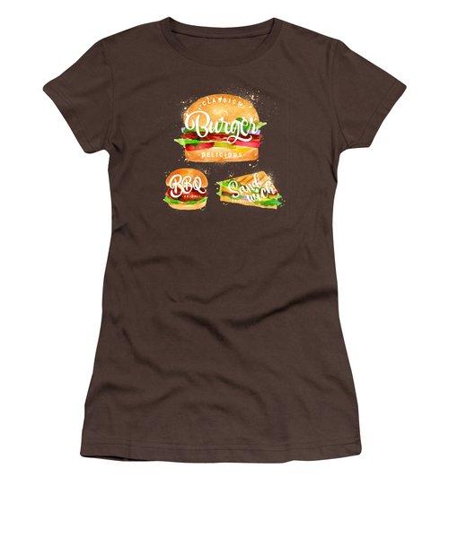 Black Burger Women's T-Shirt (Junior Cut) by Aloke Design