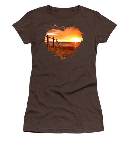 Door County Europe Bay Fence Sunrise Women's T-Shirt (Junior Cut) by Christopher Arndt