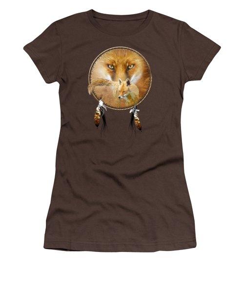 Dream Catcher- Spirit Of The Red Fox Women's T-Shirt (Junior Cut) by Carol Cavalaris