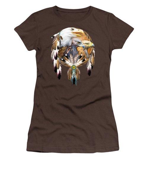 Dream Catcher - Three Eagles Women's T-Shirt (Junior Cut) by Carol Cavalaris