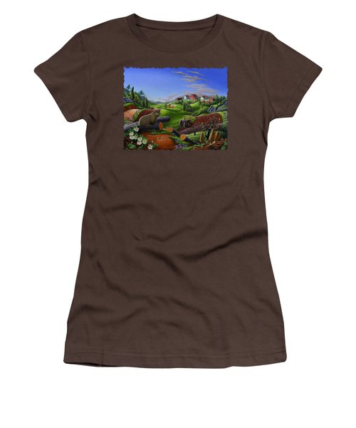 Farm Folk Art - Groundhog Spring Appalachia Landscape - Rural Country Americana - Woodchuck Women's T-Shirt (Junior Cut) by Walt Curlee