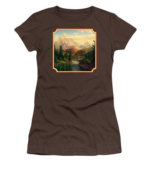 Indian Village Trapper Western Mountain Landscape Oil Painting - Native Americans -square Format Women's T-Shirt (Junior Cut) by Walt Curlee