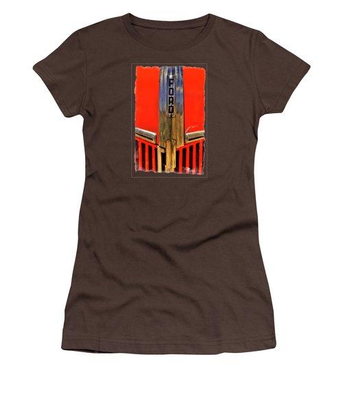 Manzanar Fire Truck Hood And Grill Detail Women's T-Shirt (Junior Cut) by Roger Passman