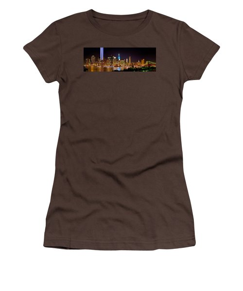 New York City Tribute In Lights And Lower Manhattan At Night Nyc Women's T-Shirt (Junior Cut) by Jon Holiday