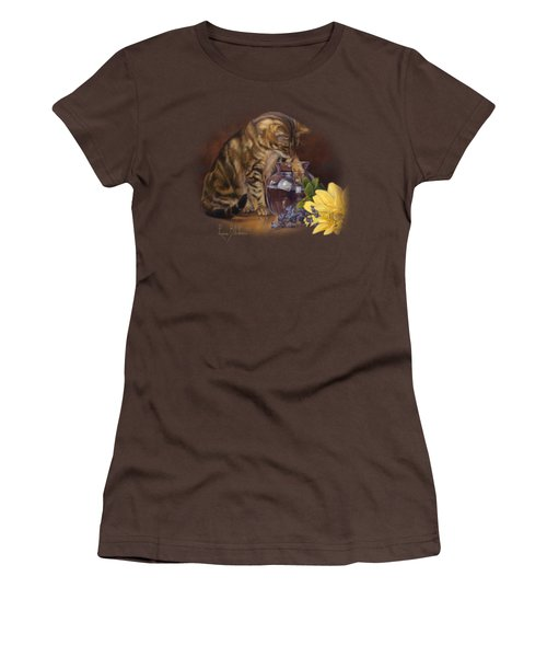 Paw In The Vase Women's T-Shirt (Junior Cut) by Lucie Bilodeau