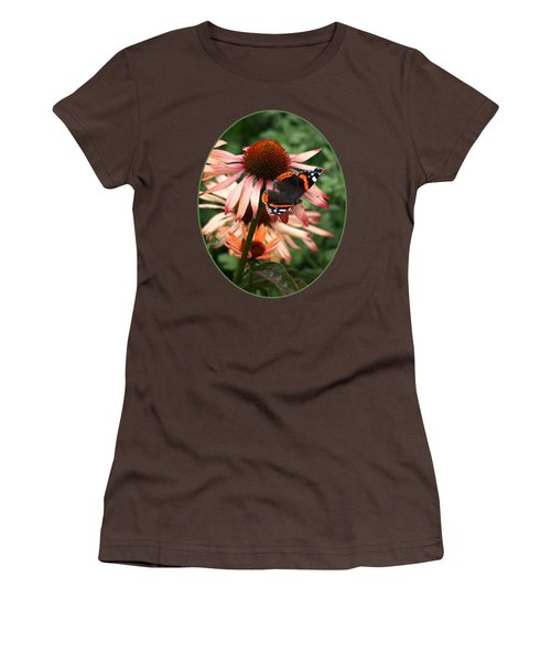 Red Admiral On Coneflower Women's T-Shirt (Junior Cut) by Gill Billington