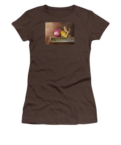 Still Life With Onion Lemon And Ginger Women's T-Shirt (Junior Cut) by Irina Sztukowski