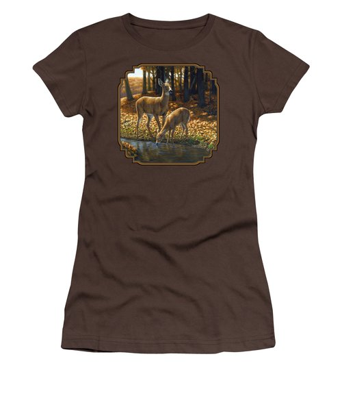 Whitetail Deer - Autumn Innocence 1 Women's T-Shirt (Junior Cut) by Crista Forest