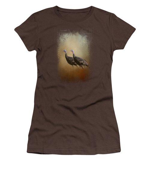 Wild Turkey At Shiloh Women's T-Shirt (Junior Cut) by Jai Johnson