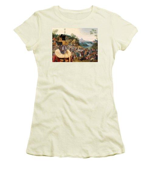 Korthals Pointing Griffon Art Canvas Print Women's T-Shirt (Junior Cut) by Sandra Sij