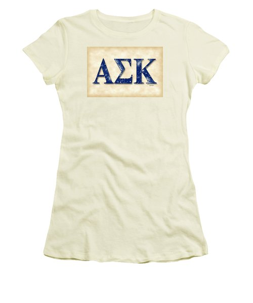 Alpha Sigma Kappa - Parchment Women's T-Shirt (Junior Cut) by Stephen Younts