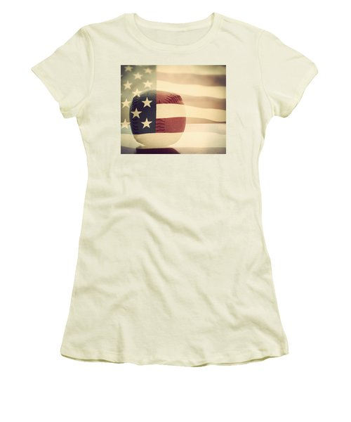 Americana Baseball  Women's T-Shirt (Junior Cut) by Terry DeLuco
