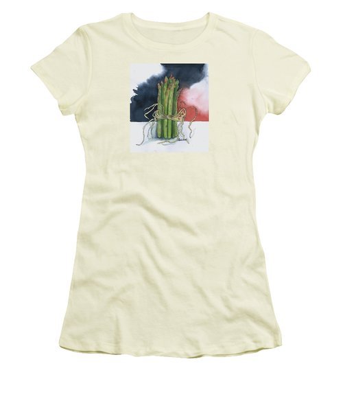 Asparagus In Raffia Women's T-Shirt (Junior Cut) by Maria Hunt