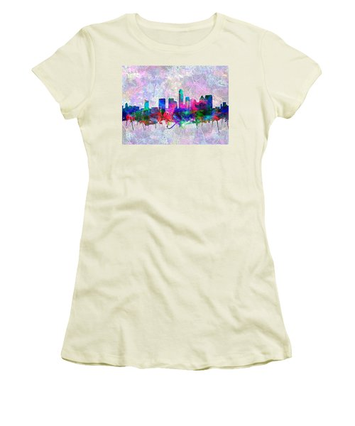Austin Texas Skyline Watercolor 2 Women's T-Shirt (Junior Cut) by Bekim Art