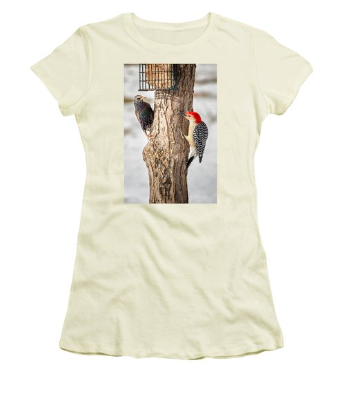 Bird Feeder Stand Off Women's T-Shirt (Junior Cut) by Bill Wakeley