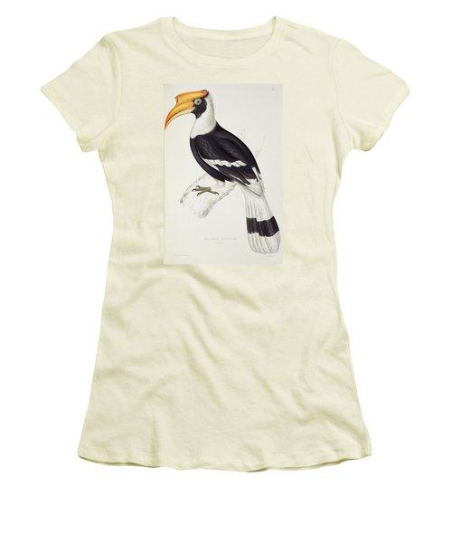 Great Hornbill Women's T-Shirt (Junior Cut) by John Gould