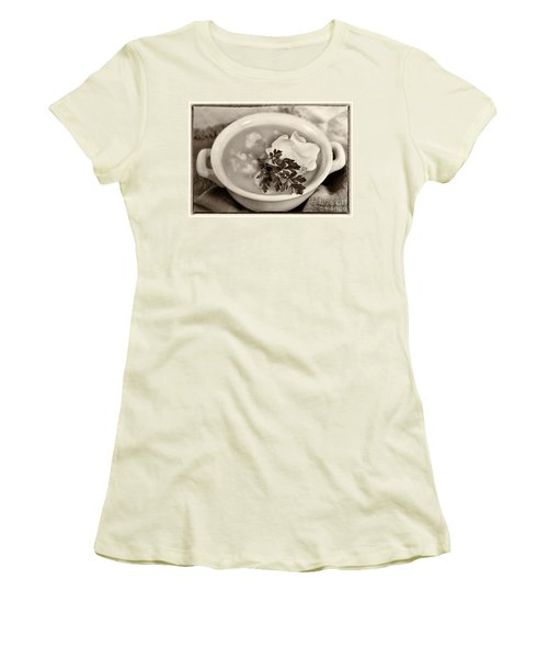 Cauliflower Soup Sepia Tone Women's T-Shirt (Junior Cut) by Iris Richardson