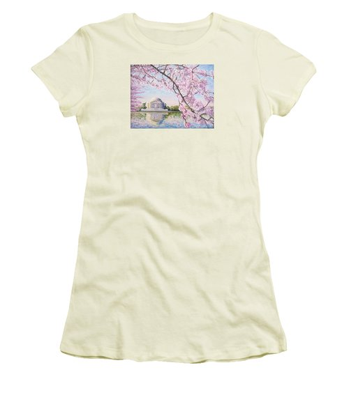 Jefferson Memorial Cherry Blossoms Women's T-Shirt (Junior Cut) by Patty Kay Hall