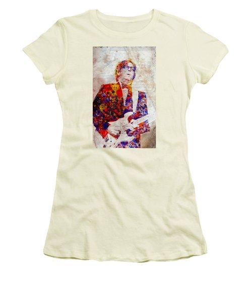 Eric Claptond Women's T-Shirt (Junior Cut) by Bekim Art
