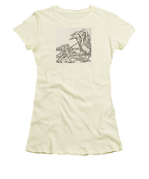 Fight Between Pygmies And Cranes. A Story From Greek Mythology Women's T-Shirt (Junior Cut) by English School