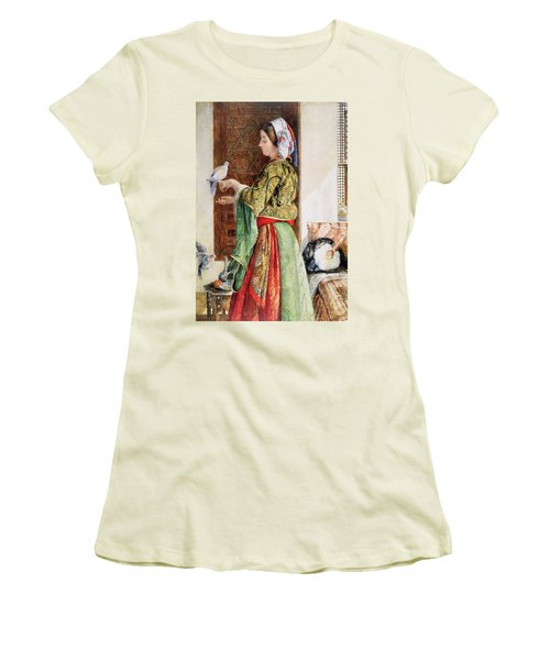Girl With Two Caged Doves, Cairo, 1864 Women's T-Shirt (Junior Cut) by John Frederick Lewis
