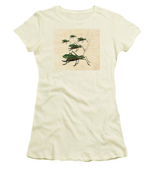 Grasshopper Parade Women's T-Shirt (Junior Cut) by Antique Images