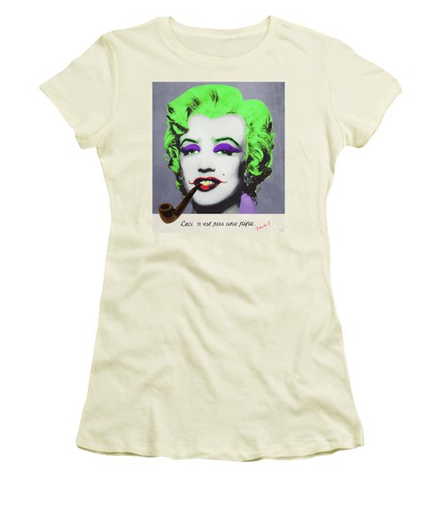 Joker Marilyn With Surreal Pipe Women's T-Shirt (Junior Cut) by Filippo B