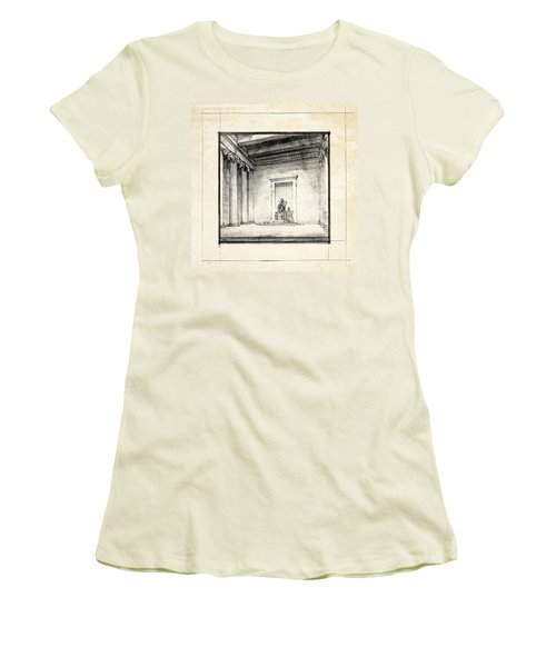 Lincoln Memorial Sketch IIi Women's T-Shirt (Junior Cut) by Gary Bodnar