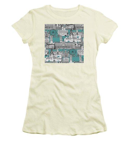 London Toile Blue Women's T-Shirt (Junior Cut) by Sharon Turner