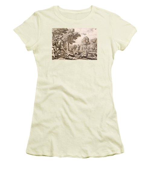 Otter Hunting By A River, Engraved Women's T-Shirt (Junior Cut) by Francis Barlow