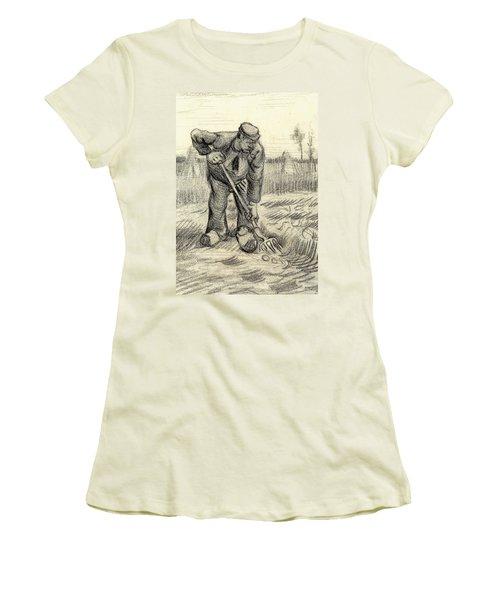 Potato Gatherer Women's T-Shirt (Junior Cut) by Vincent Van Gogh