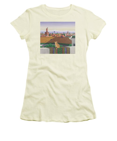 Rooftops In Marrakesh Women's T-Shirt (Junior Cut) by Larry Smart