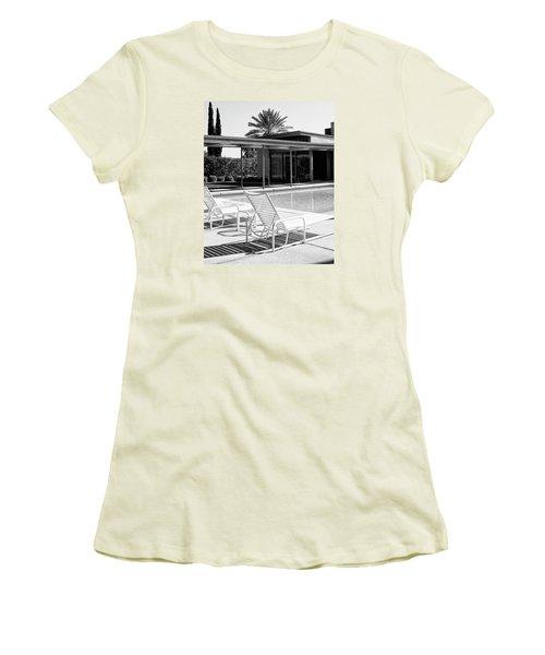 Sinatra Pool Bw Palm Springs Women's T-Shirt (Junior Cut) by William Dey
