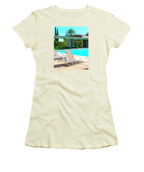 Sinatra Pool Palm Springs Women's T-Shirt (Junior Cut) by William Dey