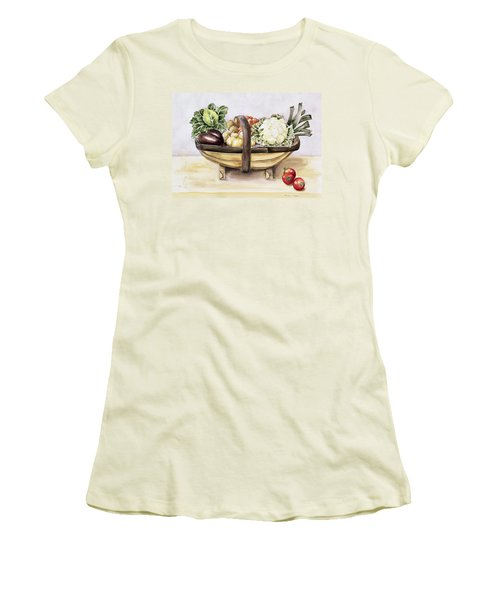 Still Life With A Trug Of Vegetables Women's T-Shirt (Junior Cut) by Alison Cooper