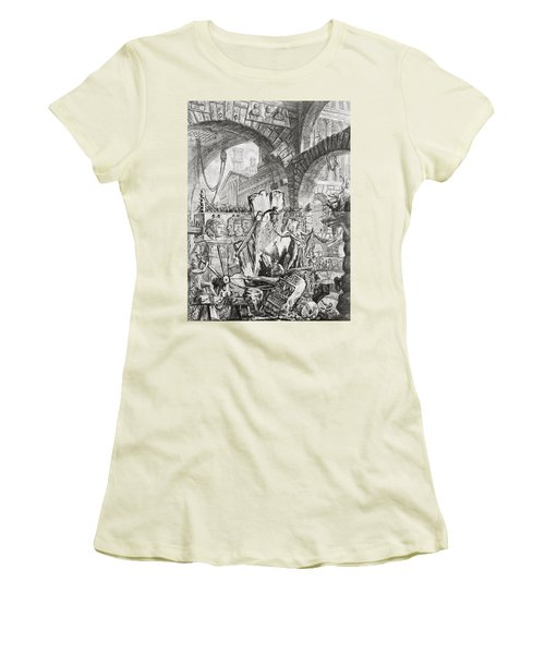 The Man On The Rack Plate II From Carceri D'invenzione Women's T-Shirt (Junior Cut) by Giovanni Battista Piranesi