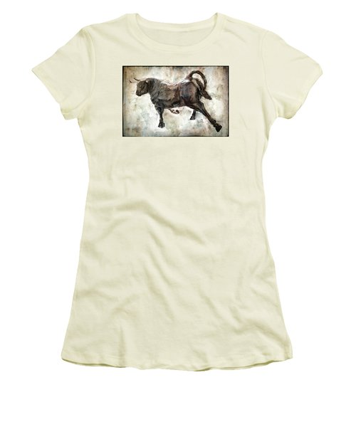 Wild Raging Bull Women's T-Shirt (Junior Cut) by Daniel Hagerman