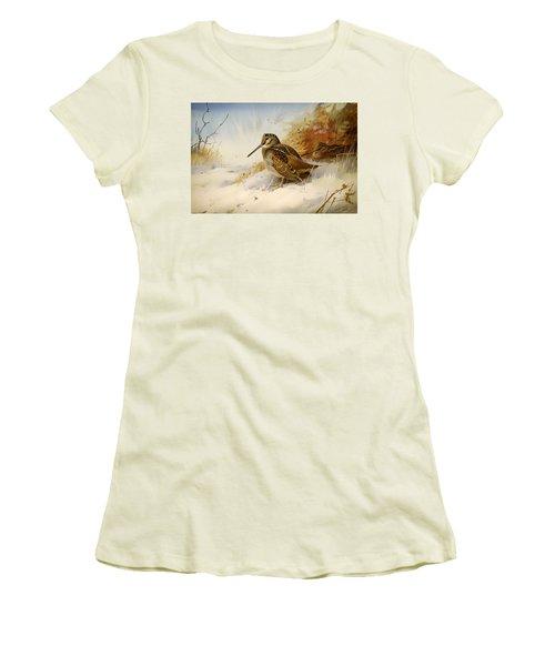 Winter Woodcock Women's T-Shirt (Junior Cut) by Mountain Dreams