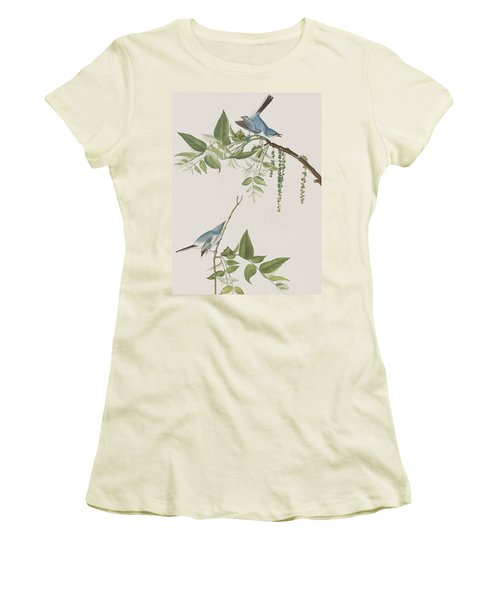 Blue Grey Flycatcher Women's T-Shirt (Junior Cut) by John James Audubon