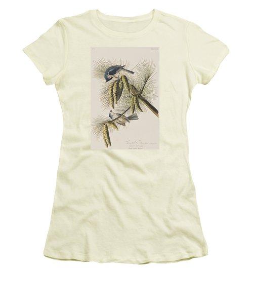 Crested Titmouse Women's T-Shirt (Junior Cut) by John James Audubon