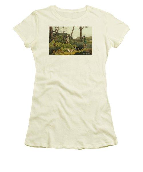 Pheasant Shooting Women's T-Shirt (Junior Cut) by Henry Thomas Alken