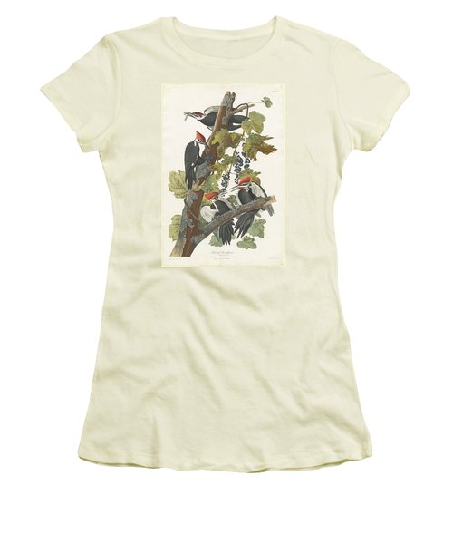 Pileated Woodpecker Women's T-Shirt (Junior Cut) by John James Audubon