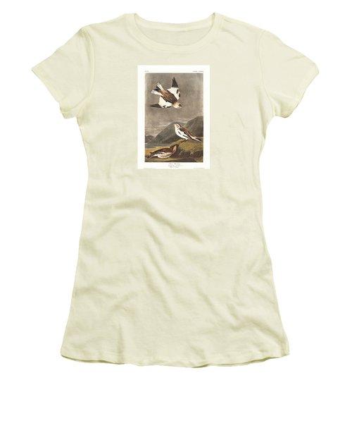 Snow Bunting Women's T-Shirt (Junior Cut) by John James Audubon