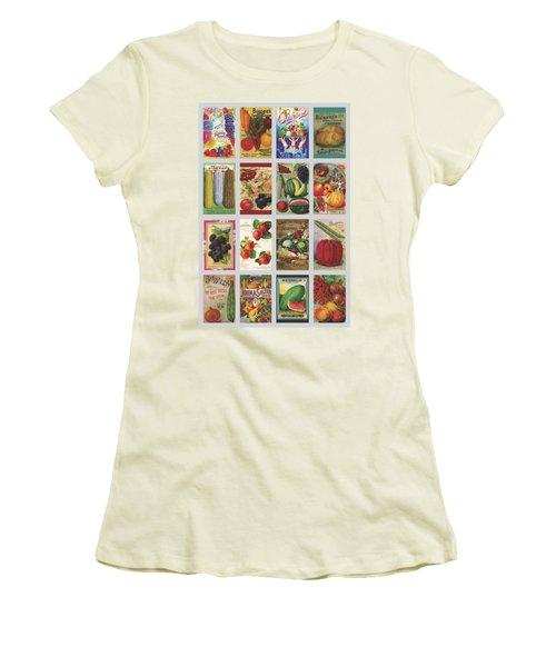 Vintage Farm Seed Packs Women's T-Shirt (Junior Cut) by Debbie Karnes