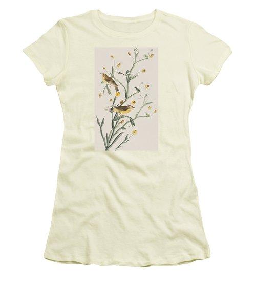 Yellow Red-poll Warbler Women's T-Shirt (Junior Cut) by John James Audubon