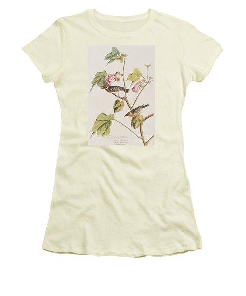 Bay Breasted Warbler Women's T-Shirt (Junior Cut) by John James Audubon
