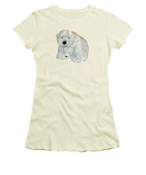 Cuddly Polar Bear Women's T-Shirt (Junior Cut) by Angeles M Pomata