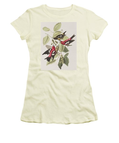 White-winged Crossbill Women's T-Shirt (Junior Cut) by John James Audubon